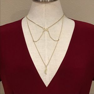 Jewelmint Gold Butterfly Leaf Tiered Necklace